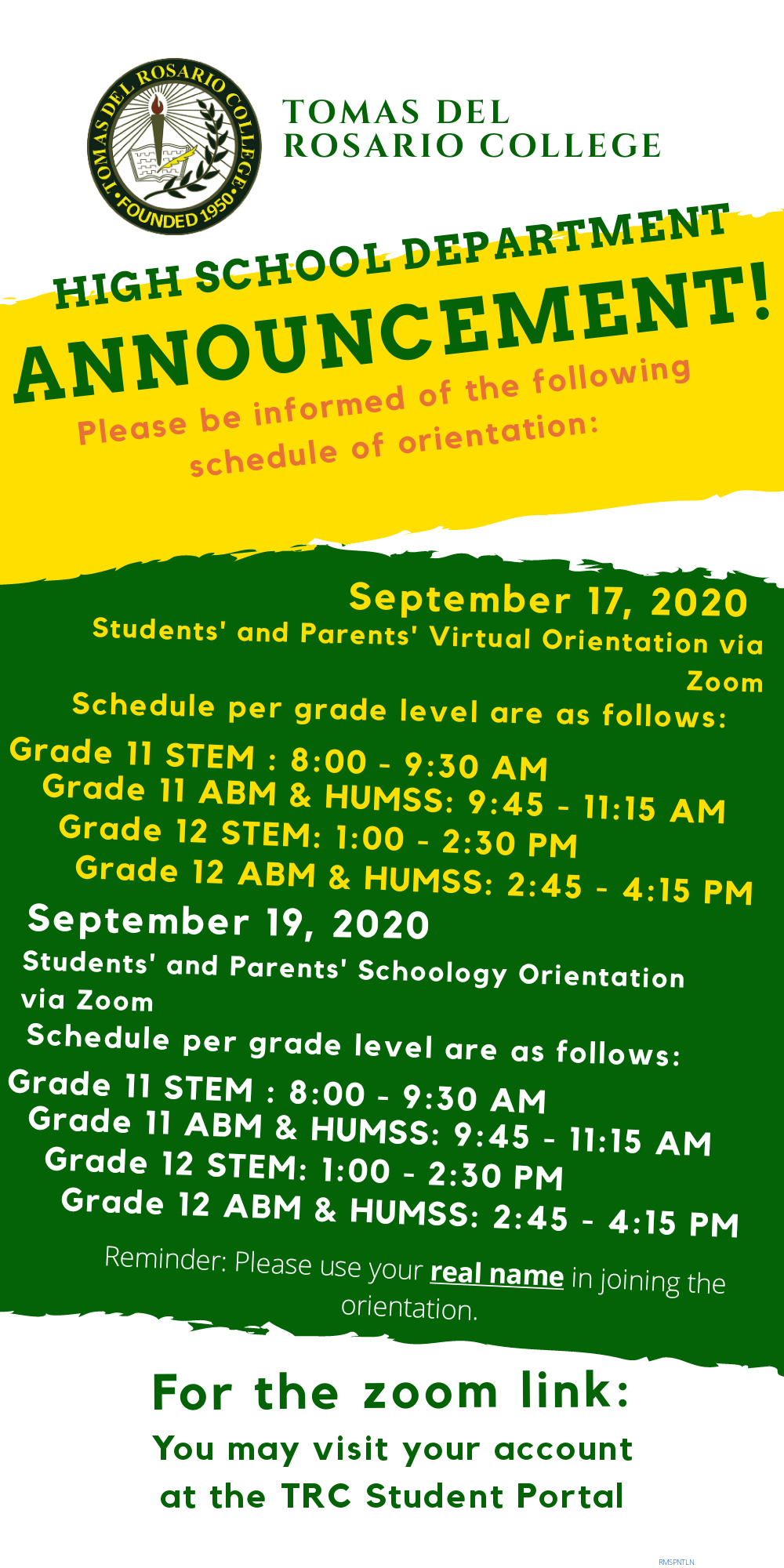 Students' and Parents' Virtual Orientation via Zoom (SENIOR HIGH SCHOOL)