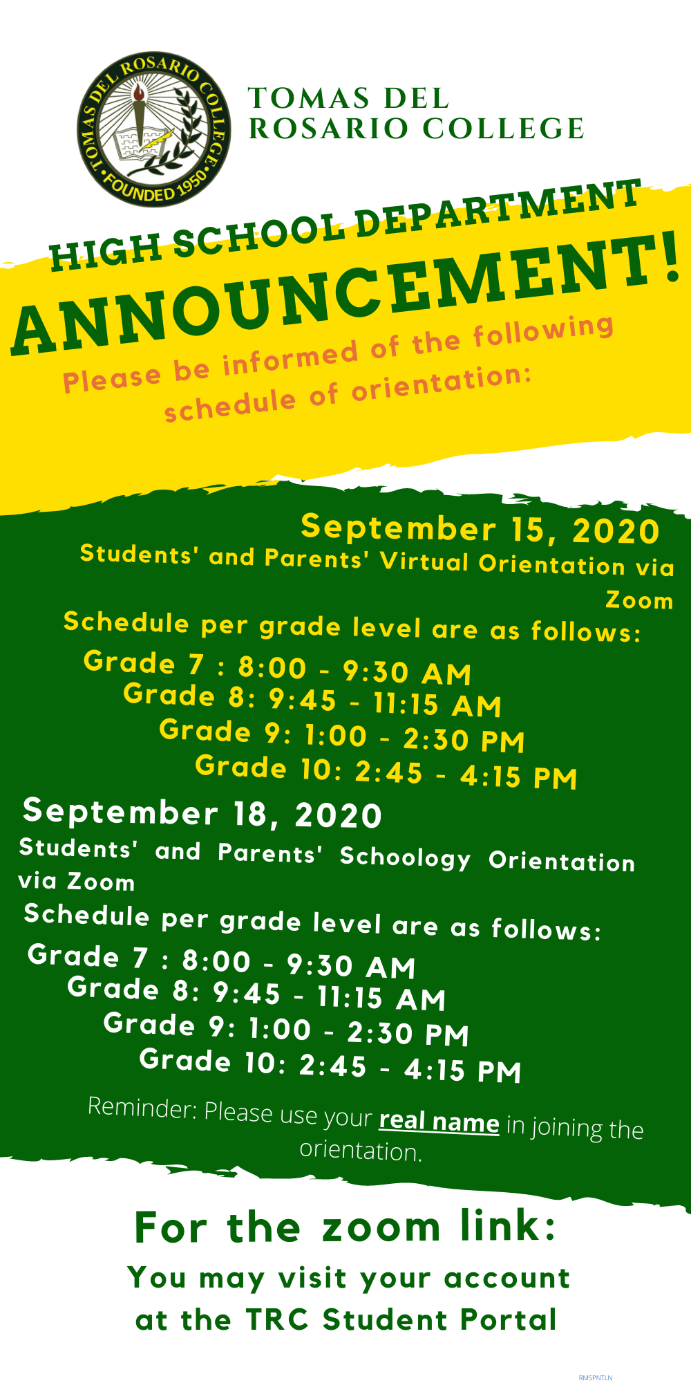 Students' and Parents' Virtual Orientation via Zoom (JUNIOR HIGH SCHOOL)