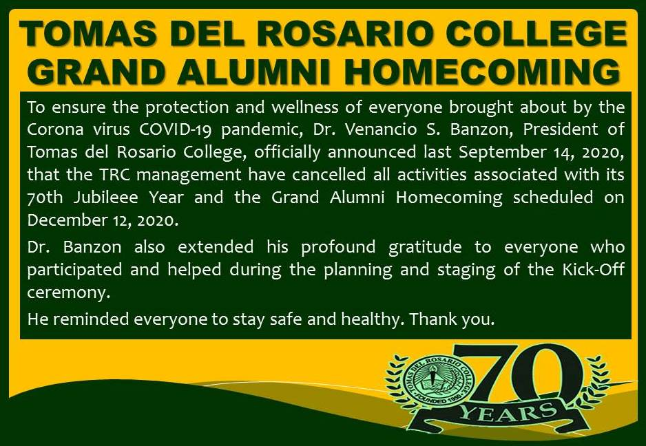 Cancellation of Grand  Alumni Homecoming 2020