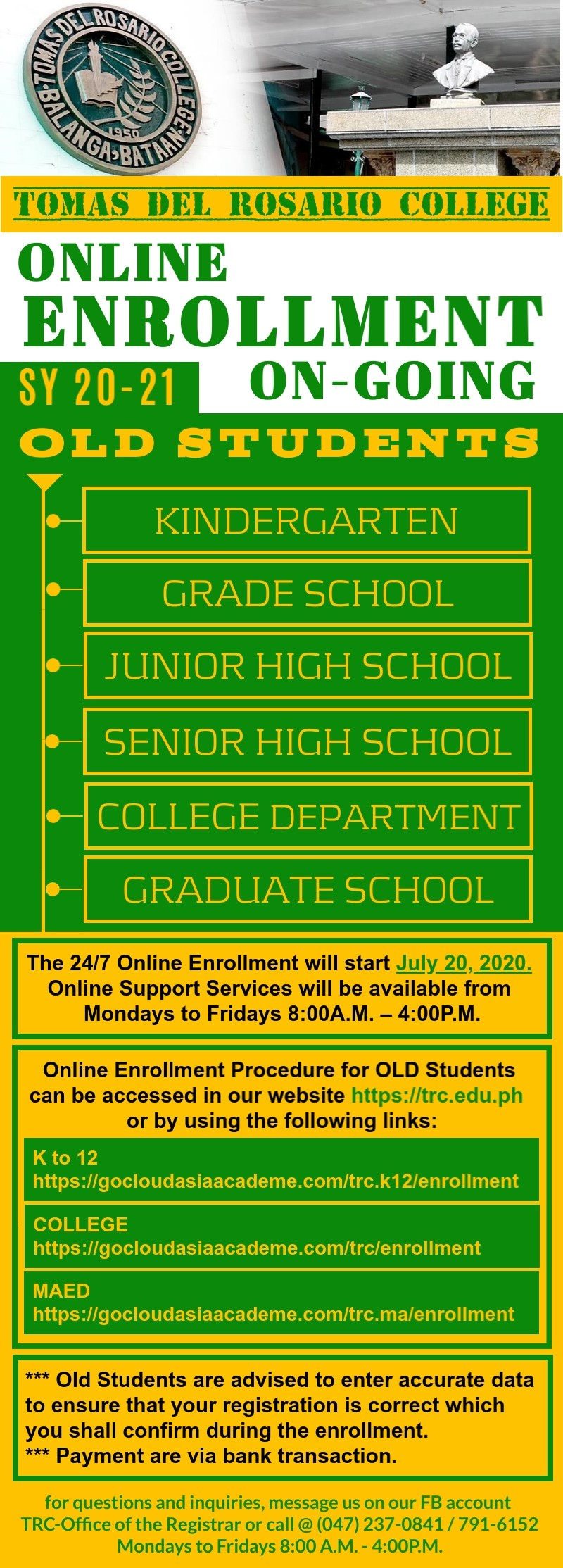ENROLLMENT FOR OLD STUDENTS - ALL LEVELS