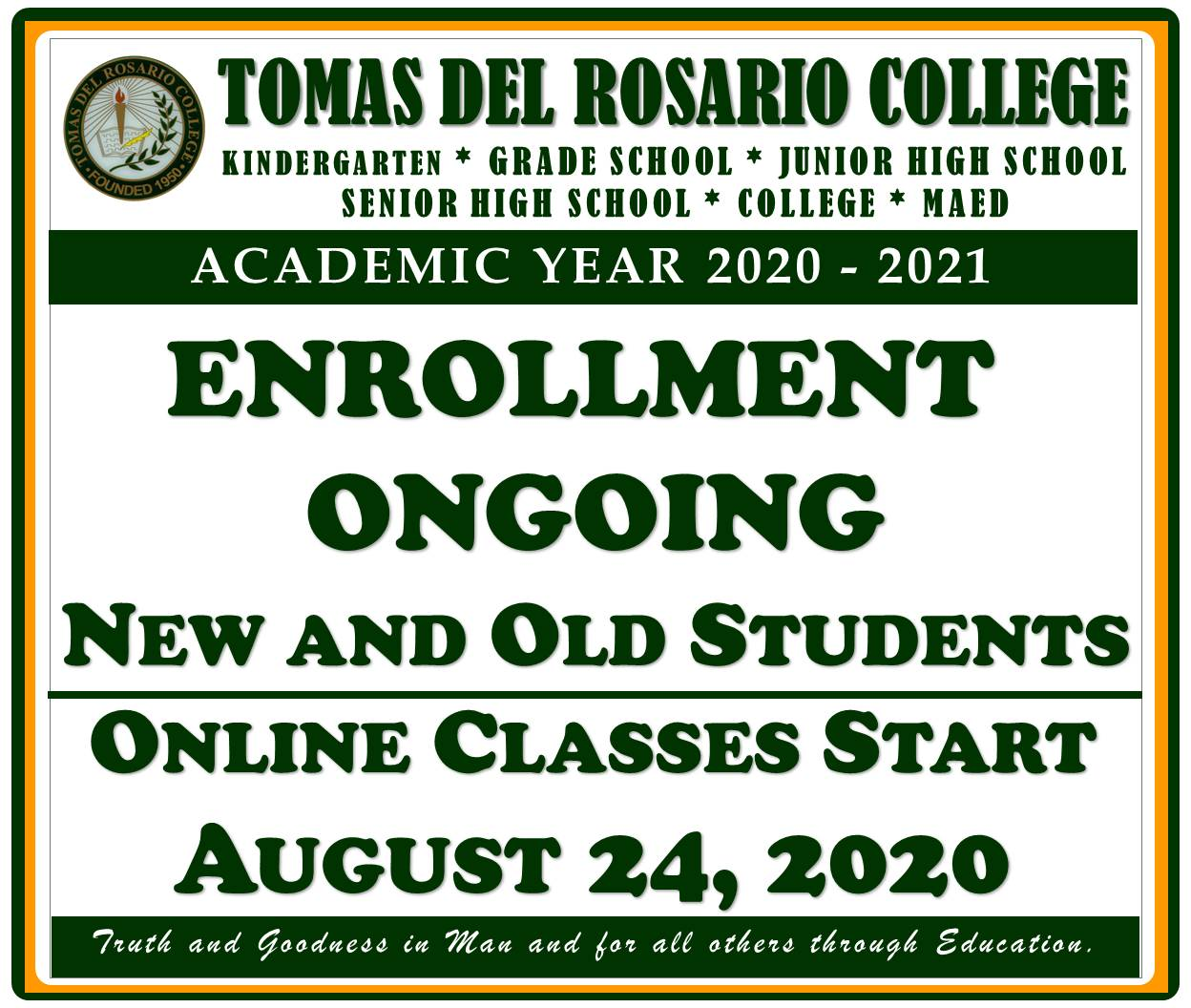 ENROLLMENT ONGOING FOR OLD STUDENTS - ALL LEVELS