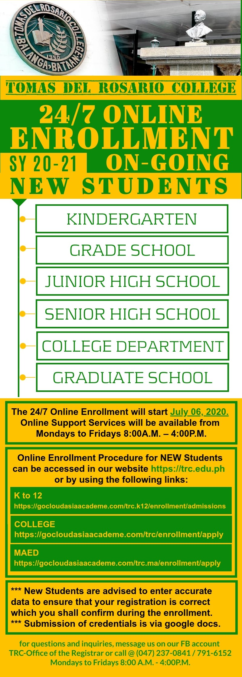 ONLINE ENROLLMENT FOR NEW STUDENTS - ALL LEVELS