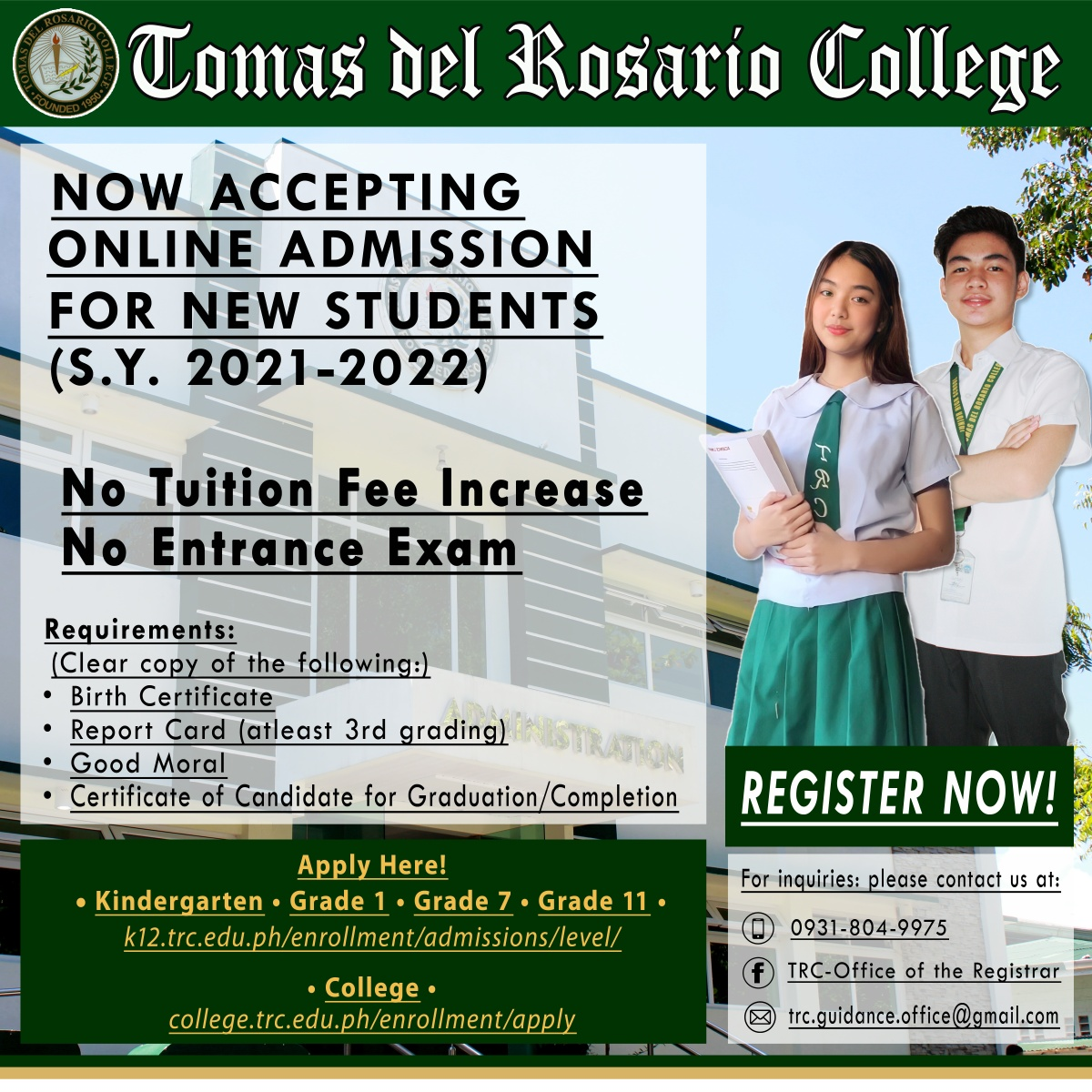 ONLINE ADMISSION FOR NEW STUDENTS A.Y. 2021-2022