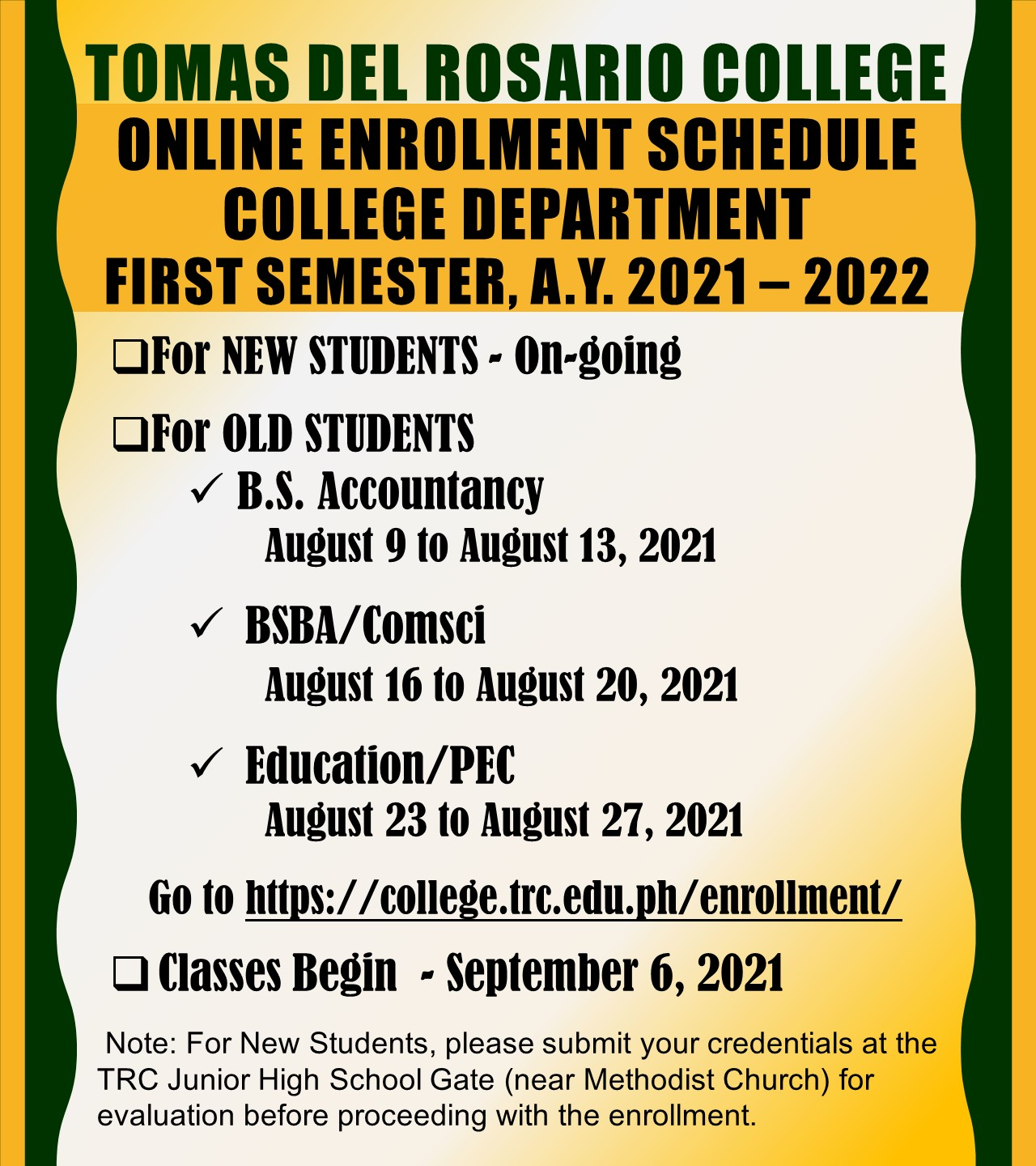 COLLEGE DEPARTMENT ONLINE ENROLLMENT FIRST SEMESTER A.Y. 2021 - 2022